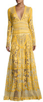 Naeem Khan Thread-Embroidered Long-Sleeve Gown, Yellow