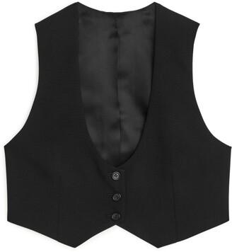 Arket Cropped Wool Hopsack Waistcoat
