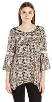 NY Collection Women's 3/4 Sleeve Scoop Neck Printed Pullover with Crochet At Front Yoke and Sleeve Sharkbite Hem