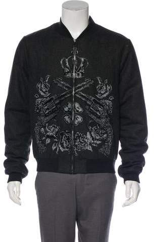 Dolce & Gabbana Printed Wool Bomber Jacket