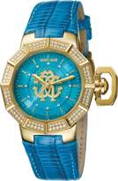 Roberto Cavalli Women's RV1L002M0016 Torquoise Dial Blue Leather Wristwatch