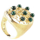 RARITIES 14 KT Gold Vermeil SS Green Agate Stone Cut Out Cocktail Ring Sz 8.5