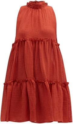 Lisa Marie Fernandez Erica Ruffled Linen-blend Mini Dress - Womens - Red