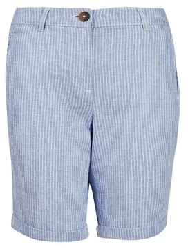 Dorothy Perkins Womens Blue Stripe Knee Shorts With Linen, Blue