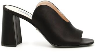 Prada Open Toe Block Heeled Sandals