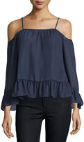 Label by 5Twelve Off-the-Shoulder Blouse W/Ruffles, Navy