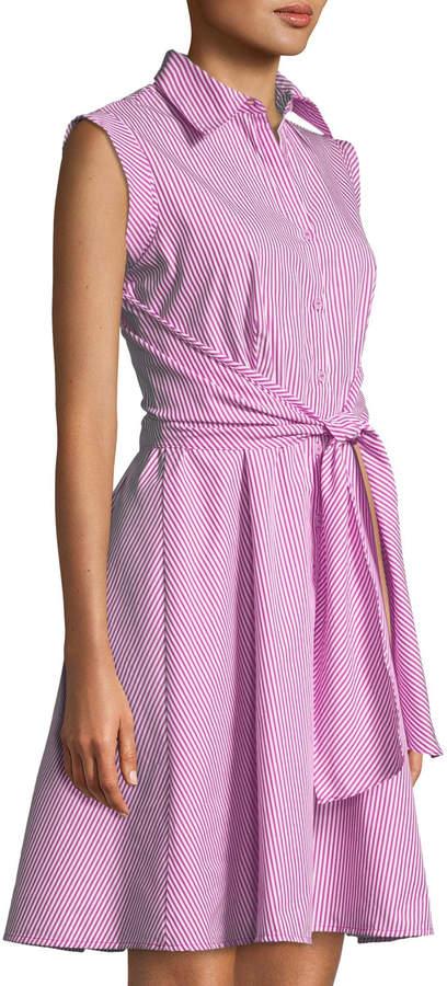 Neiman Marcus Striped Sash-Waist A-line Shirtdress