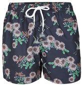Topman Navy Floral Print Swim Shorts