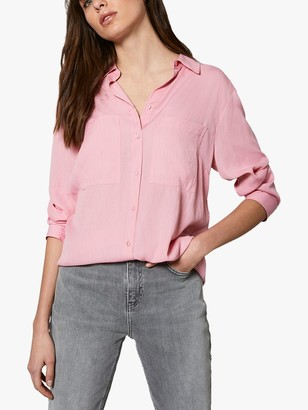 Mint Velvet Patch Pocket Bow Back Shirt, Pink