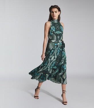 Reiss Eddie - Printed Midi Dress in Green