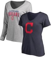 Women's Fanatics Branded Navy/Gray Cleveland Indians V-Neck T-Shirt Combo Set