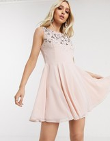 Lipsy skater dress with embellishment in pearl pink
