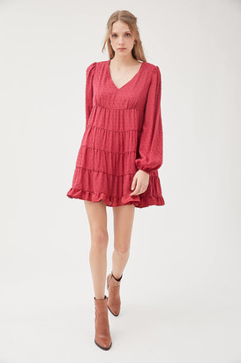 Urban Outfitters Textured Long Sleeve Frock Dress