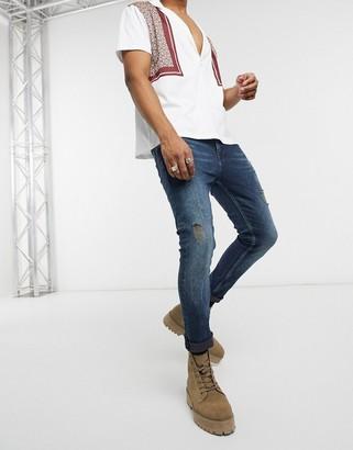 ASOS DESIGN cropped super skinny jeans in vintage dark wash blue with abrasions