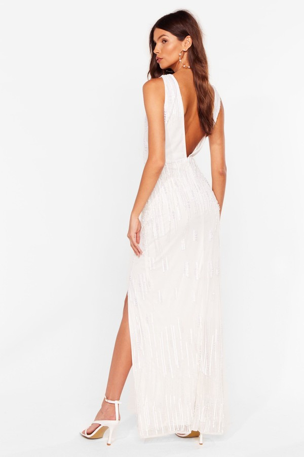 Thumbnail for your product : Nasty Gal Womens Embellished Sleeveless Low Back Maxi Dress - White - 18