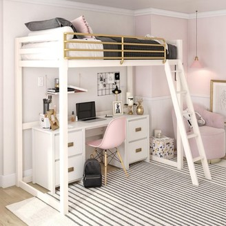 Little Seeds Monarch Hill Haven White and Gold Twin Metal Loft Bed