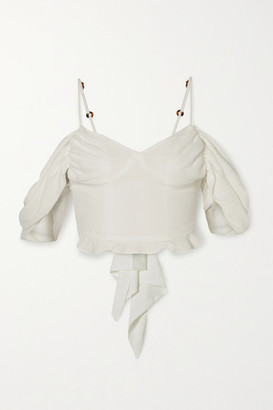 Cult Gaia Cristina Cropped Cold-shoulder Ruched Crepe Top - White