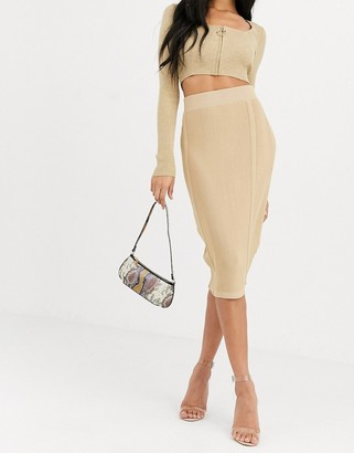 4th + Reckless knitted panel skirt in camel