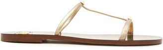 Valentino Rockstud Metallic Leather Slides