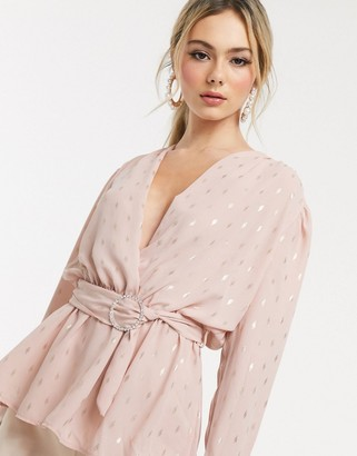 John Zack wrap front top with belt detail in pink metallic print