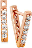 Lucky Brand Rose Gold-Tone Pave Triangle Drop Earrings