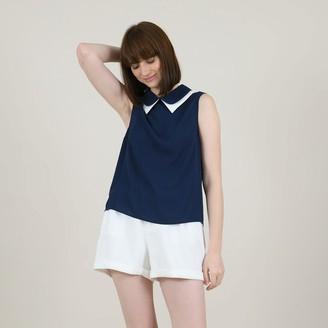 Molly Bracken Double-Collar Blouse with Dip Hem