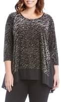Karen Kane Plus Size Women's Velvet Bunout Contrast Top