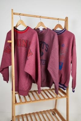 Urban Renewal Vintage Remade From Vintage Dark Pink Dyed Varsity Sweatshirt - Pink ALL at Urban Outfitters