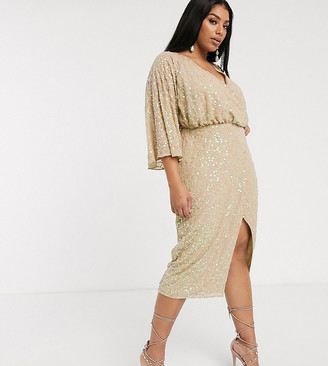 ASOS DESIGN Curve midi kimono dress in scatter sequin embelllishment