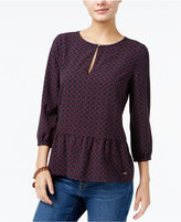 Tommy Hilfiger Dotty Diamonds Printed Peplum Top, Only at Macy's