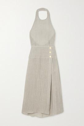 Le Kasha Dairut Open-back Crinkled Linen Halterneck Maxi Dress - Taupe
