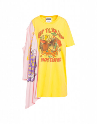 Moschino Shop Till You Drop Jersey Dress Woman Yellow Size L It