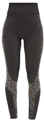 adidas by Stella McCartney Truepurpose Leopard Recycled Fibre-blend Leggings - Black Print