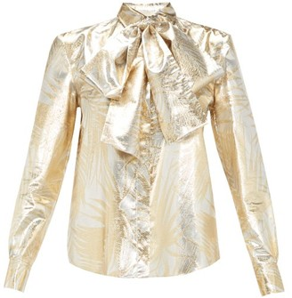 Sara Battaglia Pussy-bow Palm-leaf Brocade Blouse - Womens - Gold Multi