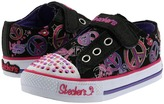 Skechers Twinkle Toes - S Lights - Shuffles - Jazzy Girl 10198N (Infant/Toddler) (Black Canvas/Pink & Lavender Trim) - Footwear