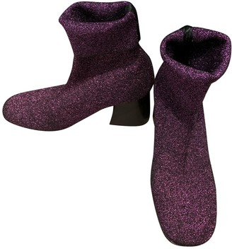 Celine Purple Glitter Ankle boots