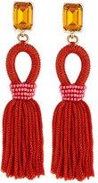 Oscar de la Renta Short Woven Tassel Earrings, Poppy