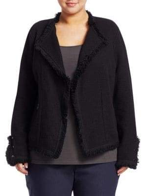 Nic+Zoe Plus Plus Women's Fringed Mixed Knit Jacket - Black - Size 3X (22-24)