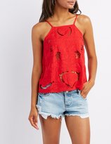 Charlotte Russe Embroidered Bib Neck Tank Top