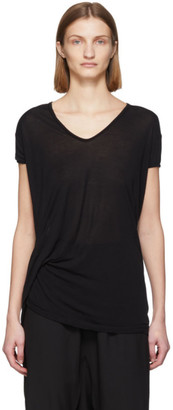 Rick Owens Black Silk Hiked T-Shirt