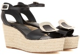 Roger Vivier Corda Chips leather espadrille wedge sandals