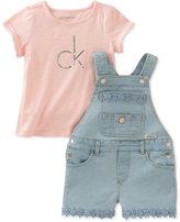 Calvin Klein 2-Pc. T-Shirt & Denim Overall Set, Little Girls (4-6X)