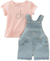 Calvin Klein 2-Pc. T-Shirt & Denim Overall Set, Toddler & Little Girls (2T-6X)