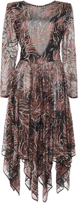 Etro Glittered Printed Silk Midi Dress