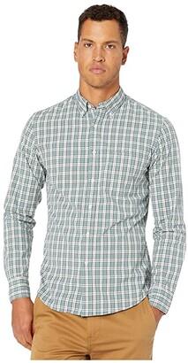 J.Crew Slim Stretch Secret Wash Shirt in Study Club Plaid Organic Cotton (Study Club Green) Men's Clothing