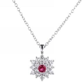 A&M A & M Silver-Tone Ruby Accent Flower Pendant Necklace