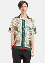 Gucci Men's Birds Of Prey Print Silk Bowling Shirt In Ivory