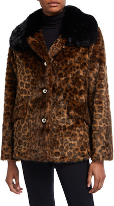 Kate Spade long-sleeve faux fur leopard coat