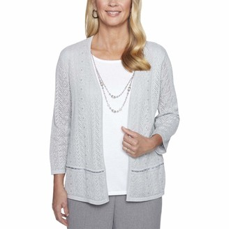 Alfred Dunner Women's Petite Pointelle Two for one Sweater