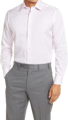 David Donahue Trim Fit Micro Floral Print Dress Shirt